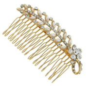 Awesome Pearl and Crystal Floral Branch Gold Hair Comb Slide - Free Gift Pouc...
