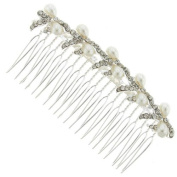 Divine Pearl and Crystal Bows Hair Comb Slide - Free Gift Pouch / Box - BHC0190