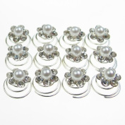 Jewellery of Lords 12 Clear Czech Crystals Around Pearl Flower Shaped Bridal Hair Pin Twist Prom Spiral Twirl Screw