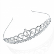 T26681 Silver & pearl bead Crystal Tiara Headband Wedding Party Prom Bride