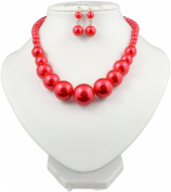 Jay Jewellery - Red Faux Pearl Graduated necklace with matching earrings