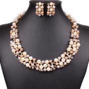 Multi-Row Strand Pearl Beaded Torsade Bib Choker Collar Necklace Earrings Set