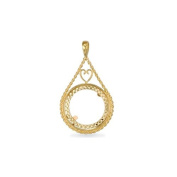 Jewelco London 9ct Solid Gold casted half-size Drop style Sovereign coin pendant mount