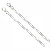 2 x 10cm 4inch apx sterling silver extension chain & clip .925 CER6350-10-XX02