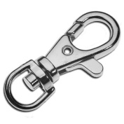 10 x Platinum Plated Strong Swivel Trigger Clip Key Rings - 14x39mm - A5448