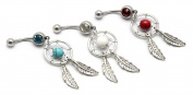 Value Pack! Lot of 3 14G Red Turquoise White Crystals Dream Catcher Ball with 2-leaf Dangle Classic Navel Ring Belly Button Bar