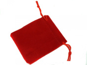 Red Velvet Pouches with Drawstring for Jewellery Gift Bags (5x7cm) - Pack of 8