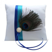 White Peacock-Pattern Feather Ring Bearer Pillow Rhinestone Satin Ribbon Accent