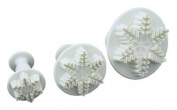 SET OF 3 EMBOSSED SNOWFLAKE PLUNGER CUTTERS SUGARCRAFT CHRISTMAS MODELLING TOOLS CAKE DECORATING FROM CFU