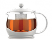 Grunwerg Cafe Ole Colours 1.2L Glass Teapot with Infuser in White CPT-12W