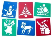 6 Washable Plastic Christmas Stencils