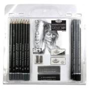 21 Piece Sketch and Drawing Pencil Set - Sketching Art - Royal Langnickel