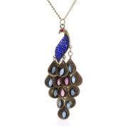 Retro Peacock Crystal Necklace Pendant Jewellery Vintage Style