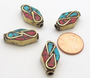 Thick kite shape Tibetan brass beads with turquoise coral inlay - 2 beads - BD479