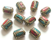 2 BEADS Tibetan barrel tube shape brass beads with turquoise coral inlay - BD478