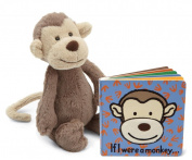 Jellycat® If I were a Monkey Baby Touch and Feel Book and Bashful Monkey Stuffed Animal Bundle