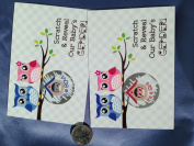 Gender Reveal Owl Couple Sex Scratch Off Postcards~ Qty 25