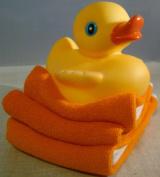 Elegant Baby Rubber Duck and Washcloth Gift Set - Orange