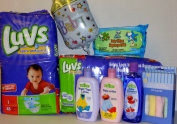 Baby Shower Bundle Gift, Luvs Size 1, Baby Wipes, Baby Wash Cloths, Baby Shampoo, Lotion, And Night Time Lotion, Baby Balloon And Bonus Comes Gift Wrapped