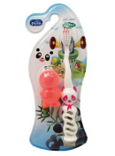 Small Pink All Pure Kids Panda Toothbrush with Travel Cap
