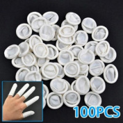 100Pcs Nail Art Latex Rubber Finger Cots Protector Gloves Powder with Hair Clip and Pink Headband for Girl Women