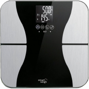 Smart Weigh Body Fat Digital Precision Scale with Tempered Glass Platform, Eight User Recognition, and 200kg Weight Capacity, Measures Weight, Body Fat, Water, Muscle and Bone Mass