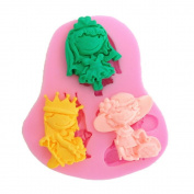 Pretty 3 Cavity Mini Princess Shaped Mould Silicone Chocolate Fondant Candy Mould Cake Decoration