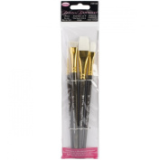 Weber 4-Piece Donna Dewberry Glass Brush Set, Includes No.2 Liner, No.12 Flat, 1.3cm Scruffy and 1.9cm Flat