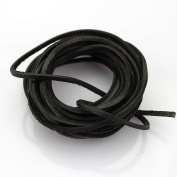 LolliBeads (TM) 3mm Flat Genuine Leather Cord Braiding String Black