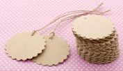 Eforstore Scalloped Wedding Brown Kraft Paper Tag Lolly Bag Bonbonniere Favour Gift Tags With Jute Twines