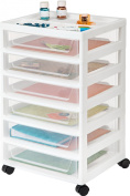 IRIS 6-Drawer Scrapbook Storage Cart with Organiser Top, White