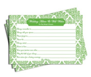 Wedding Advice and Well Wishes - Bridal Shower - Green Damask
