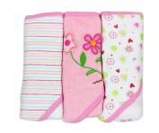 Spasilk Soft Terry Hooded Towel Set, Pink Flower, 3-Count