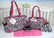 SoHo Collection, Pink Zebra 6 pieces Nappy Bag set.