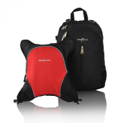 Obersee Rio Nappy Bag Backpack with Detachable Cooler, Black/Red