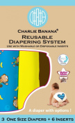 Charlie Banana 2-in-1 Reusable Nappies System, 3 Nappies plus 6 Inserts, Monkey Doo, One-Size
