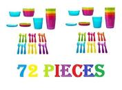 Ikea 72Pcs Kalas Kids Plastic BPA Free Flatware, Bowl, Plate, Tumbler Set, Colourful