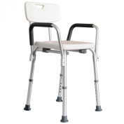 HomCom Adjustable Medical Shower Seat Bath Chair w/ Arms and Backrest