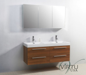Virtu USA JD-50754-PL 140cm Finley Double Sink Bathroom Vanity, Plum