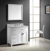 Virtu USA MS-2136L-WMSQ-WH 90cm Caroline Parkway Single Square Sink Bathroom Vanity, White
