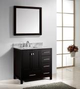 Virtu USA GS-50036-WMSQ-ES Caroline Avenue 90cm Bathroom Vanity with Double Square Sinks in Espresso and Italian Carrara White Marble