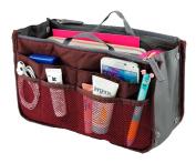 Lady Women Travel Insert Handbag Organiser Purse Large Liner Organiser Tidy Bag-Red