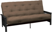 Epic Furnishings Berkeley 25cm Inner Spring Futon Sofa/Sleeper Bed, Queen, Black Arms Suede Mocha Brown Upholstery
