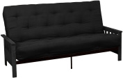 Epic Furnishings Berkeley 25cm Inner Spring Futon Sofa/Sleeper Bed, Queen, Black Arms Suede Ebony Black Upholstery