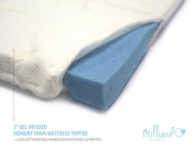 MILLIARD 5.1cm Gel Infused Memory Foam Mattress Topper + Ultra Soft Removable Bamboo Cover with Non-Slip Bottom Twin 190cm x 90cm x 2""