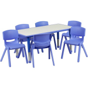 Adjustable Rectangular Activity Table with 6 School Stack Chairs Finish