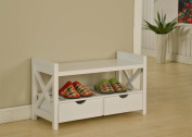 King's Brand White Finish Wood Shoe Storage Bench With Drawers