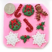Longzang #535 mini Christmas Fondant Mould Silicone Sugar mould Craft Moulds DIY gumpaste flowers Cake Decorating