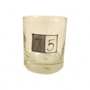 75th Birthday Gift Grey Sq Whiskey Glass