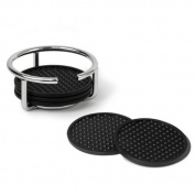 Spectrum 43570 Euro 6 Flexible Coasters with Coaster Stand, Chrome